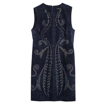 Metallic Detail Leather Dress