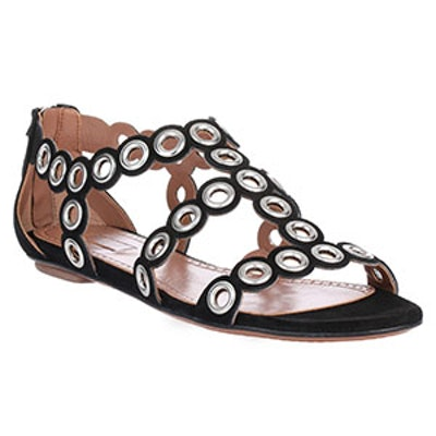Suede Eyelet Flat Sandals