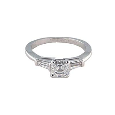 White Gold & Asscher Cut Diamond Ring