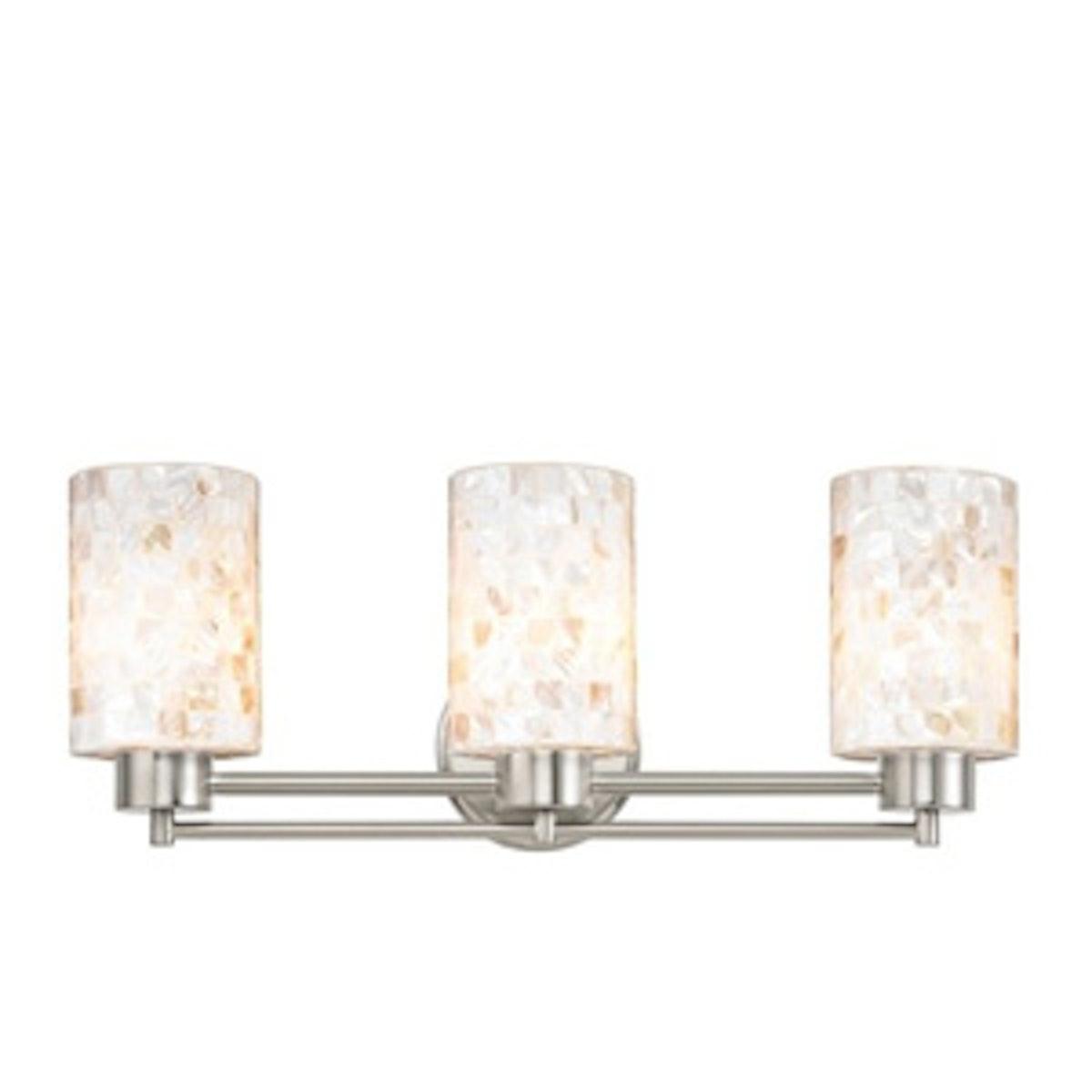 Mosaic Glass Satin Nickel Bathroom Light