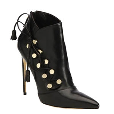 Blanche Leather Side Lace-Up Booties