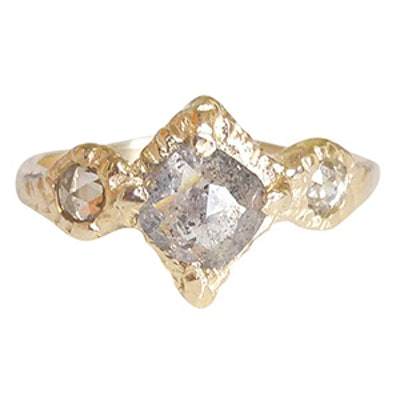 Yellow Gold & Rustic Diamond Ring