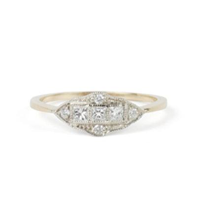 Yellow Gold Diamond Machine Age Ring