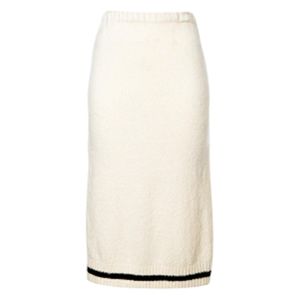 Black and White Knitted Midi Skirt