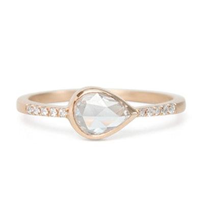 Rose Gold & Teardrop Diamond Ring