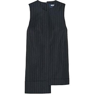 Asymmetric Pinstriped Mini Dress