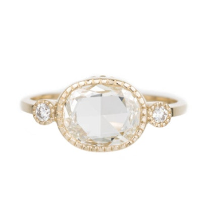 Yellow Gold Rose Cut Oval Diamond Ring