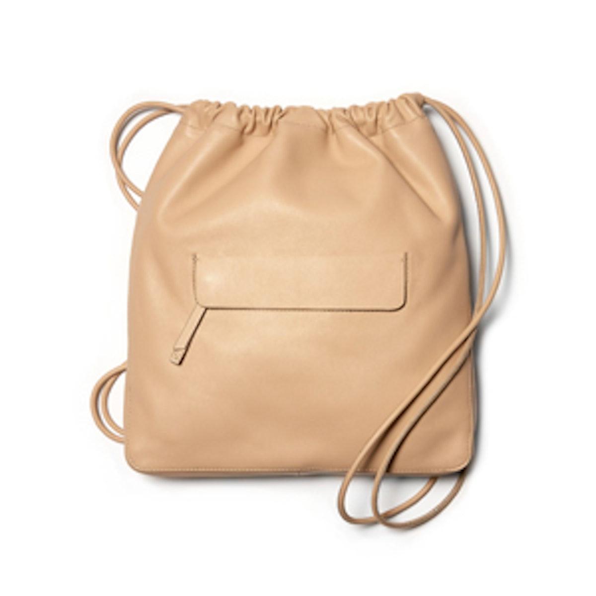 Leather Drawstring Sling Bag