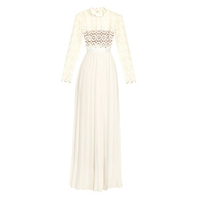 Long-Sleeved Crochet-Lace Pleated Gown