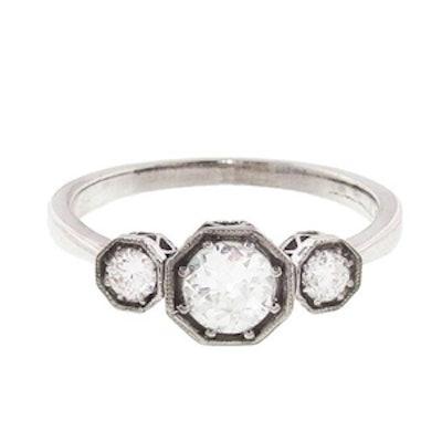White Gold Diamond Octagon Trio Ring