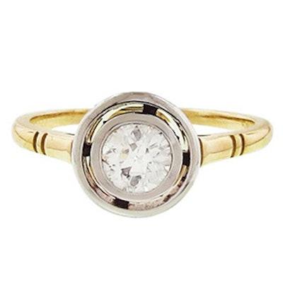 Yellow Gold & European Cut Diamond Ring
