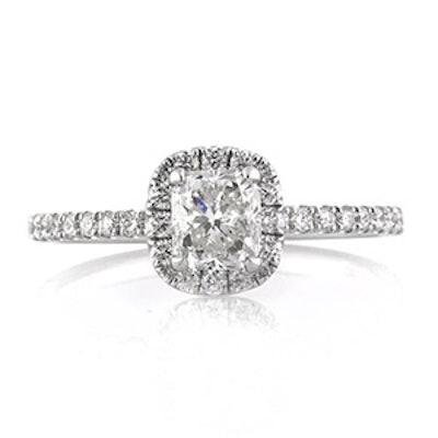 White Gold & Cushion Cut Diamond Ring