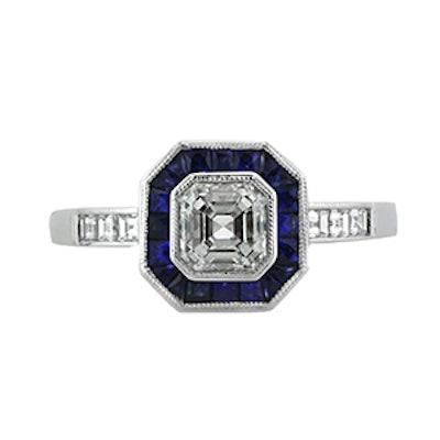 Sapphire & Asscher Cut Diamond Ring