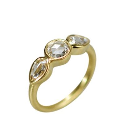 Yellow Gold Rose Cut Diamond Ring
