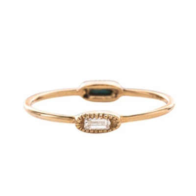 Yellow Gold Double Oblong Diamond Ring