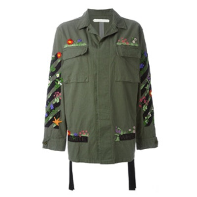 Floral Embroidered Cargo Jacket