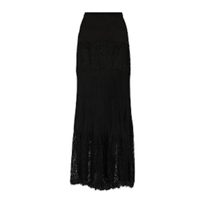 Kate Cotton-Blend Lace And Silk Crepe De Chine Maxi Skirt