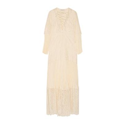 Annie Cotton-Blend Lace And Silk Crepe De Chine Maxi Dress