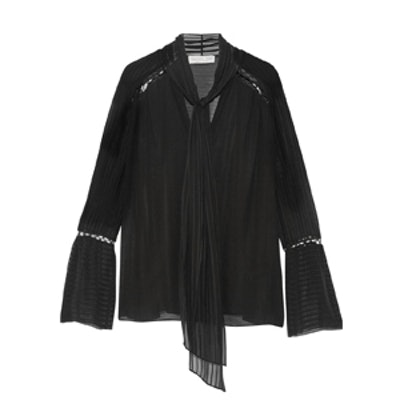 Laurie Pussy-Bow Embroidered Silk-Chiffon Blouse