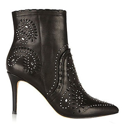 Leather Studded Laser Cut Ankle Boots