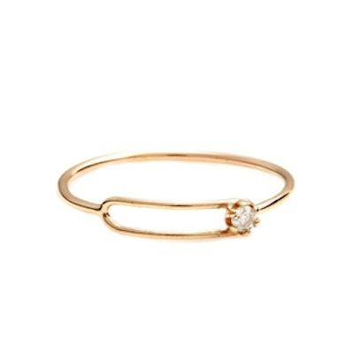 Yellow Gold Diamond Oblong Ring