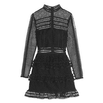 Tiered Guipure Lace Mini Dress