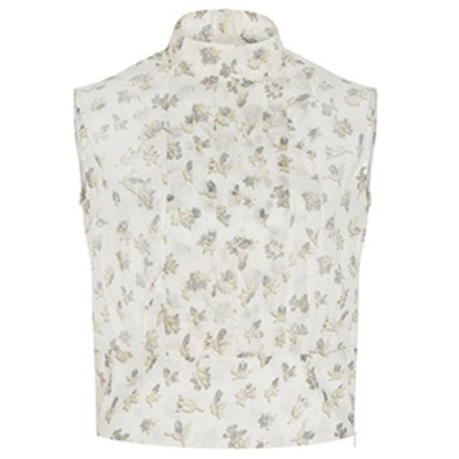 Silk Printed Ruffle Front Top
