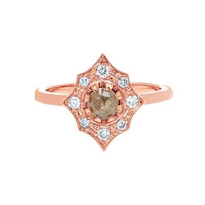 Rose Gold & Rose Cut Grey Diamond Ring