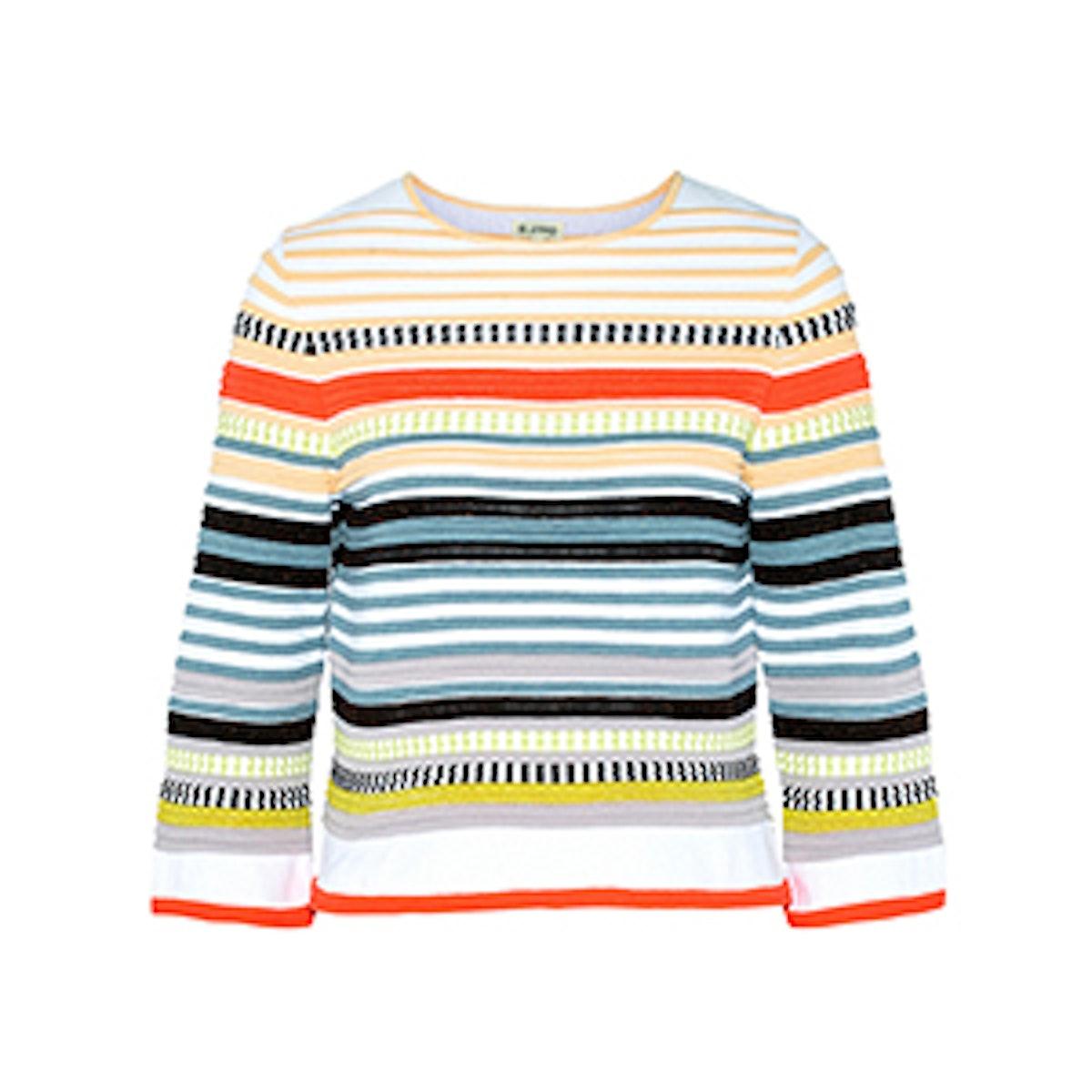 Paneled Stretch-Knit Sweater