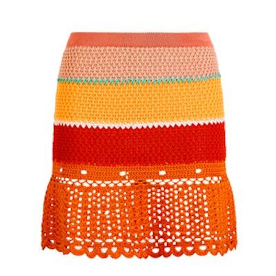 Crochet Stripe Flared Skirt