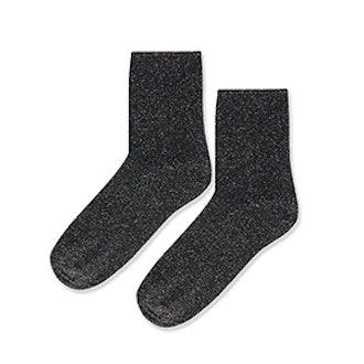 Roll Top Glitter Ankle Sock