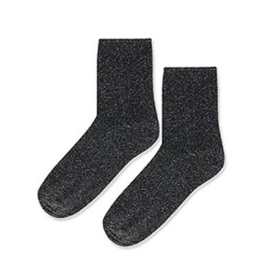 Roll Top Glitter Ankle Sock