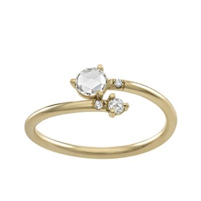 Yellow Gold Diamond Crossover Ring