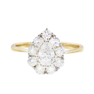 Yellow Gold Diamond Pear Cluster Ring
