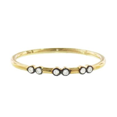 Yellow Gold Black Diamond Charnières Ring