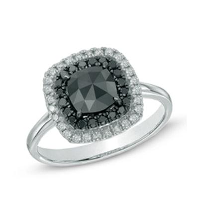 White Gold Double Framed Black Diamond Ring