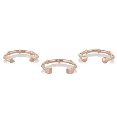 Set of Three Rose Gold-Plated Rings