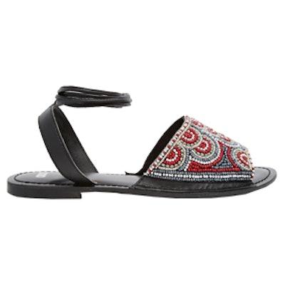 Tie Leg Leather Sandals