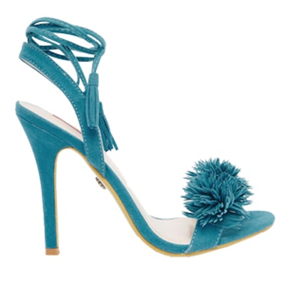 Pom Ghillie Lace Up Heeled Sandals