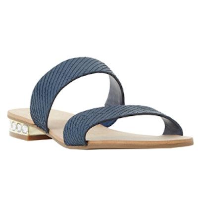 Jewel Heel Double Strap Flat Sandal