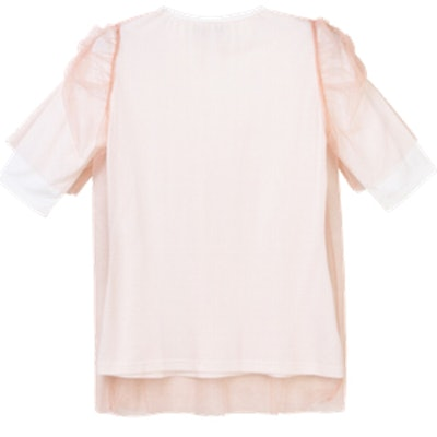 Layered Mesh Top With Puff Shoulder