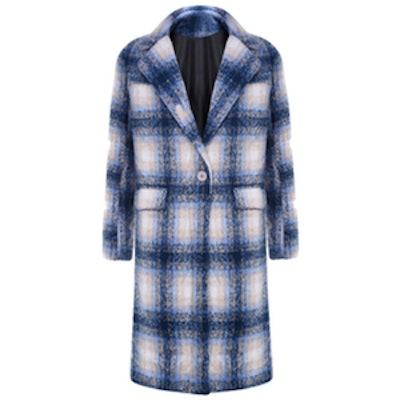 Blue Tartan Plaid Maxi Coat