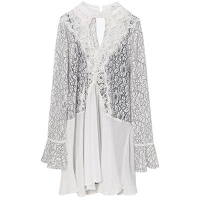 White Lace V Neck Oversized Mini Dress