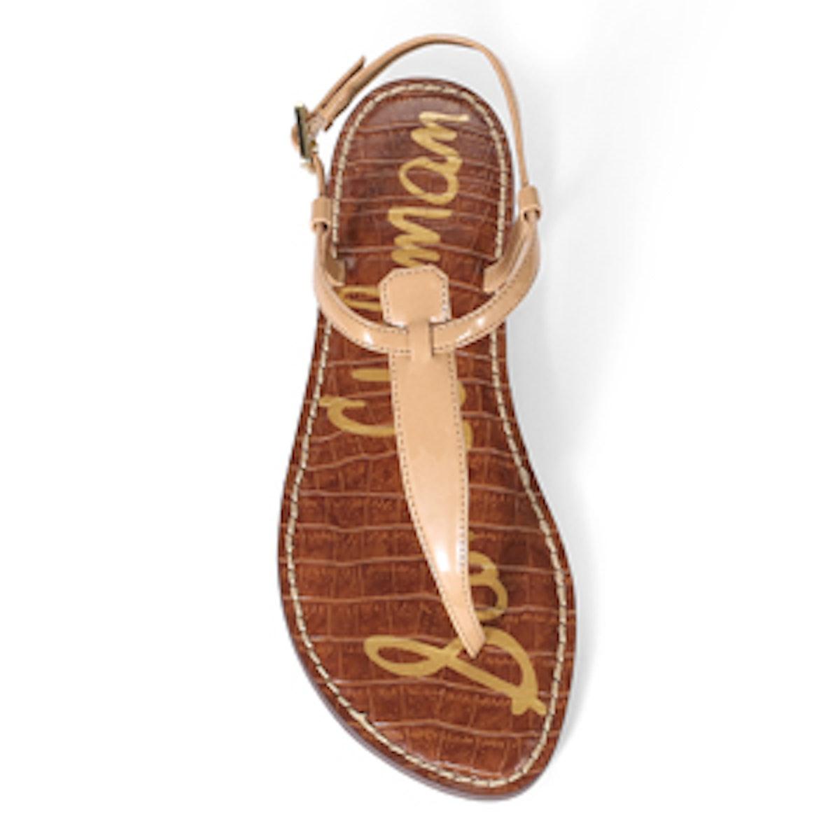 Gigi Thong Sandal In Almond Patent