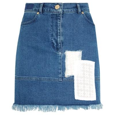 Appliquéd Stretch-Denim Mini Skirt