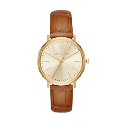 Jaryn Gold-Tone and Embossed-Leather Watch