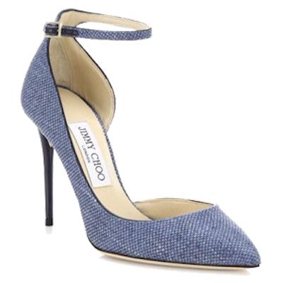 Lucy Suede-Trim Raffia D'Orsay Ankle-Strap Pumps