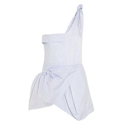 One-Shoulder Striped Cotton-Poplin Top