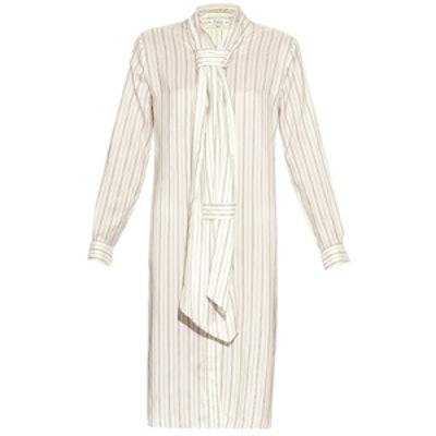 Pinstriped Washed Silk-Habotai Dress