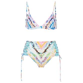 Reversible Printed Triangle Bikini